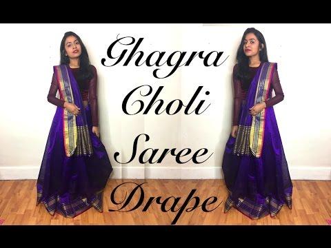 How To: Ghagra Choli Style Saree Drape Tutorial | Thuri Makeup