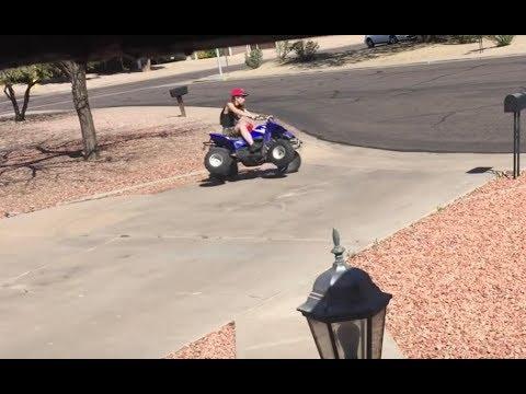 My redneck neighbor recklessly riding atv all over my yard
