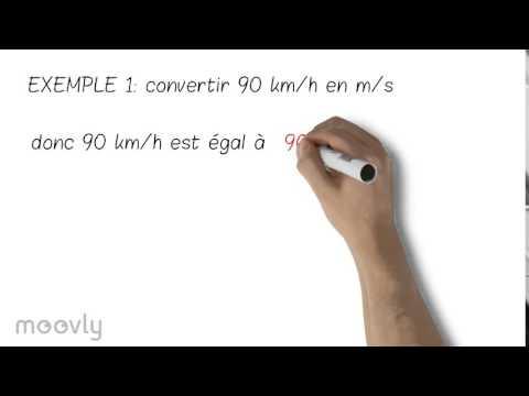 convertir en m/s une vitesse en km/h