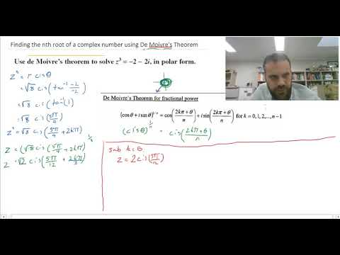 Finding the nth root of a complex number using De Moivres theorem