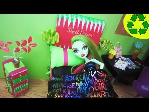 How to make a Doll Bed for Venus Mcflytrap– Monster High Tutorial - simplekidscrafts