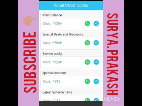 All USSD Aircel Code 2018, Balance, own number, Last 5 call, VAS deactivation