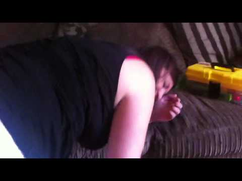 Hannah steps in Morgan's nappy
