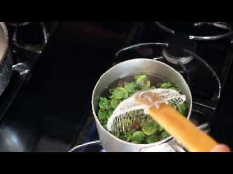Trimming and blanching fiddlehead ferns