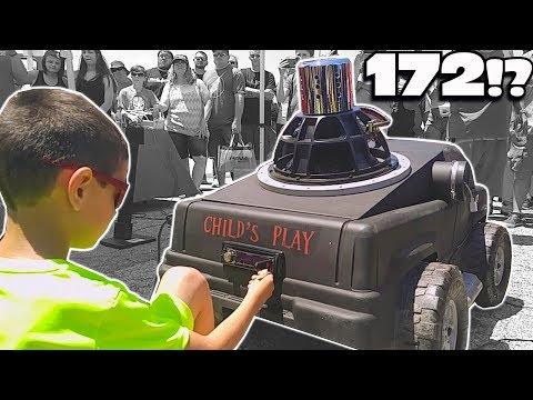 Little Kid HITS 172db w/ POWER WHEELS Car! World's LOUDEST Power Wheel SUBWOOFER Sound System!?