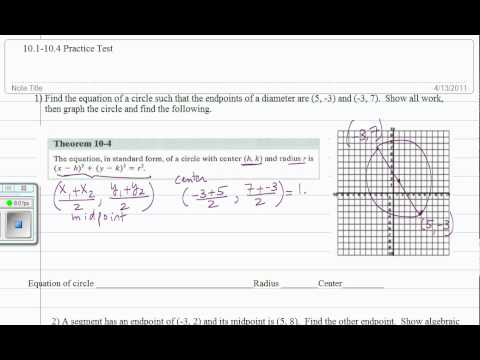 Find equation of a circle given endpoints of a diameter