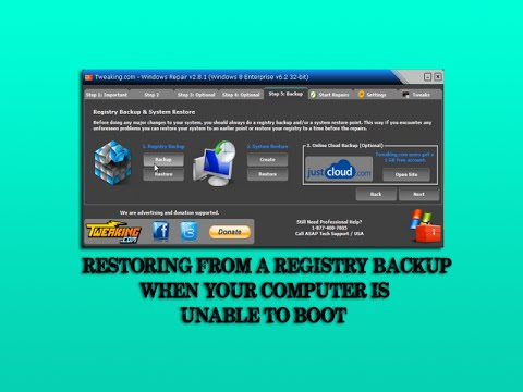 Restoring from a registry backup when your computer is unable to boot