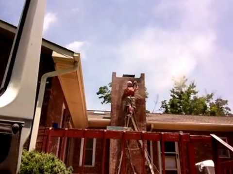 Soda blasting tar from brick chimney