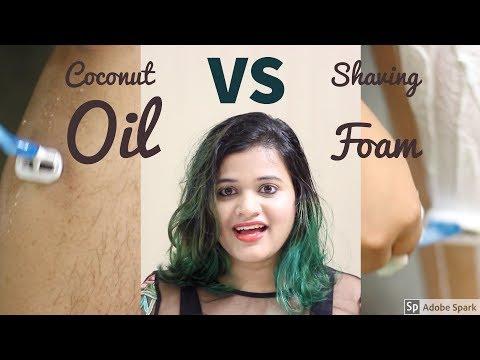 Hair removal   Coconut oil vs Shaving cream/foam   live result