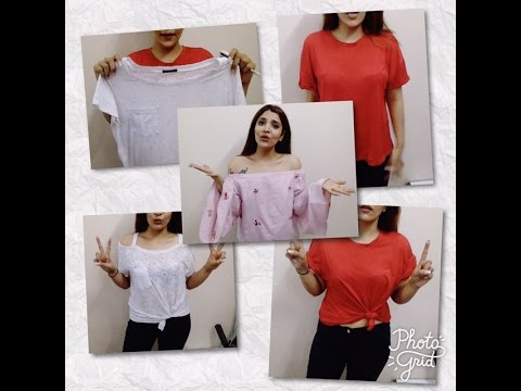2 quick hacks to restyle/revamp/fashion old loose t-shirts under 30 seconds! off shoulder top