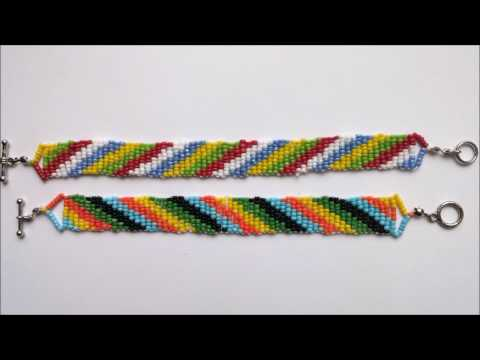 How to make colorful  seed bead bracelets using 5  different colors. Beginners beading project