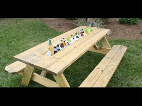 Great DIY Drink Trough for a Outdoor Picnic Table