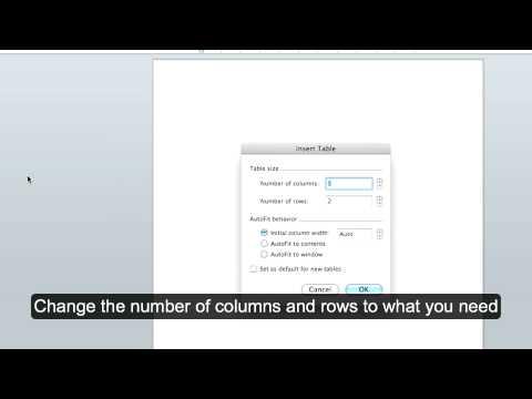 Microsoft Office Word MAC: Creating Tables