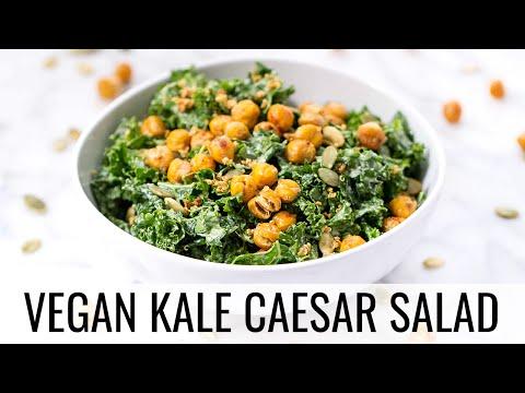 Vegan Kale Caesar Salad w/ Crispy Chickpeas | HEALTHY DINNER IDEA