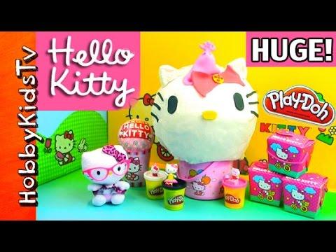 Hello Kitty HUGE Play-Doh Pumpkin Head! Makeover Party HobbyKidsTV
