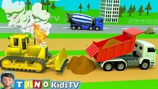 Construction Trucks for Kids Bulldozer Overheat Trouble | Airplane Runway Construction for Children