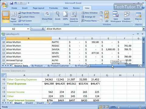 Compare Windows Side by Side in Excel 2007