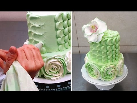 Swirl Roses and Petal Buttercream Cake How To Make by CakesStepByStep