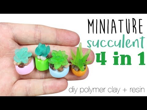 How to DIY 4-in-1 Miniature Succulents Polymer Clay/Resin Tutorial