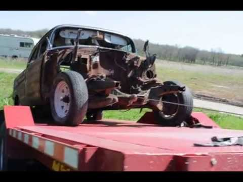Stateline Trailers Speedhauler Tilt DRAGS 57 Chevy up on bed with wheels locked. No problem
