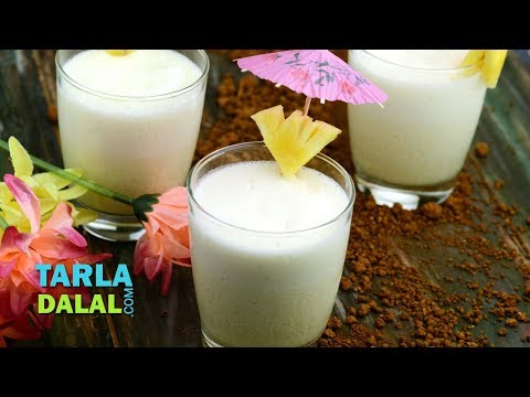 Virgin Pina Colada, Mocktail, Non Alcoholic Recipe by Tarla Dalal
