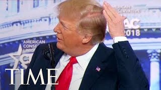 President Trump Jokes About His Bald Spot At CPAC: