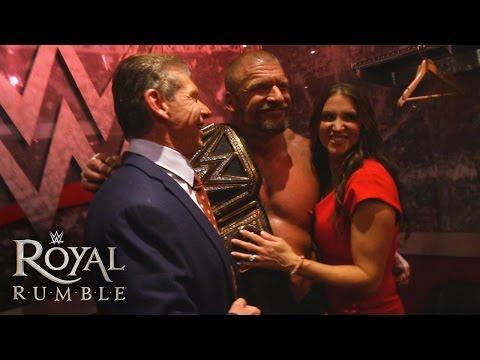 The McMahon family celebrates Triple H's historic victory: January 24, 2016