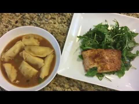 How to Make Miso Broth with Steamed Dumplings, Broiled Salmon and Arugula Salad