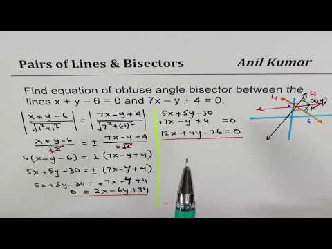 Find Equation of Obtuse angle bisector of a Pair of Line