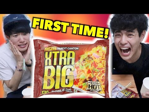 JAPANESE GUYS TRIES XTRA BIG!!!!!(HOT FLAVOR)