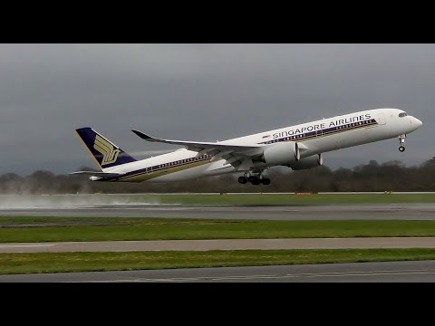 Singapore Airlines A350 Spectacular Departures from Manchester!