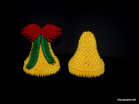 3D origami Christmas bell tutorial