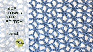 Tutorial Lace Star Flower Crochet Stitch In English