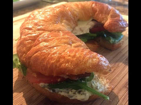 Chicken Club Croissant Sandwich with Pesto Mayo