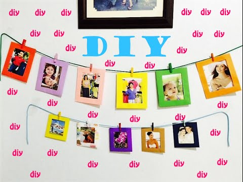 DIY How to make HANGING WALL PAPER PHOTO ALBUM FRAME Tutorial