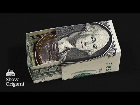 Коробочка из 💰 денег.  Как сделать коробочку из доллара.