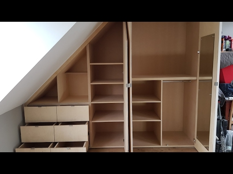 Installing a sloped ceiling wardrobe in 2 minutes - Time lapse tutorial video in HD
