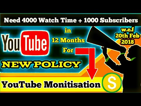 YouTube New Monetization Rules 2018 | No More Video Monetisation Before 4000 Hours Watch Time