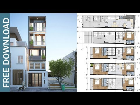 5 Story Narrow House Plan with 7 Bedrooms Plot 3.9x17.3 meter