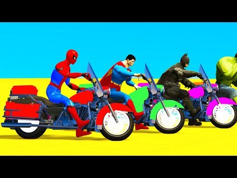 Learn Colors Motorcycles Bikes for Kids w/ Fun Superheroes Cartoon For Babies Toddlers