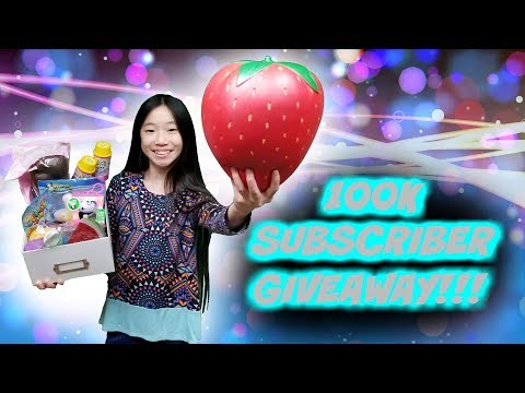 100K SUBSCRIBER GIVEAWAY!!! GIANT STRAWBERRY, IBLOOM, PUNI MARU LICENSED SQUISHIES AND SLIME