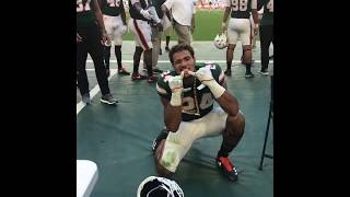Travis Homer celebrates as first offensive player to get Miami