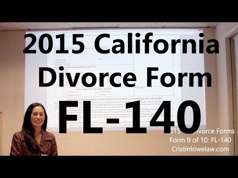 Filing California Divorce Forms: Form 9 of 10 the FL-140