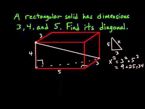 CLEP College Algebra: Diagonal of A Rectangular Solid