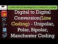 Digital to Digital Conversion(Line Coding) - Unipolar, Polar, Bipolar Coding with Examples