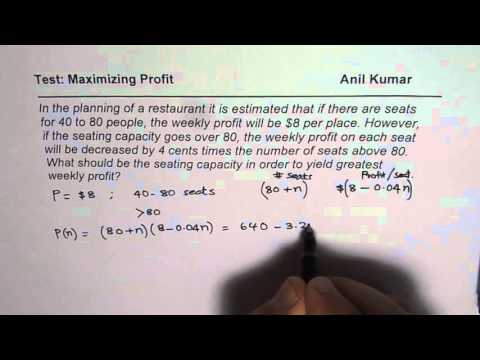 Calculus Optimization to Maximize Profit of Restaurant MCV