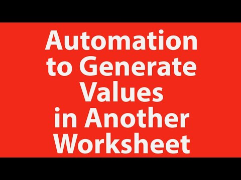Enter value in one Excel sheet and generate values in another worksheet