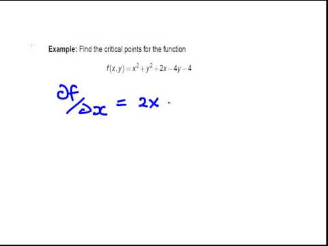 Partial Derivatives : Critical Points