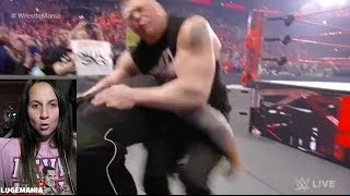 WWE Raw 3/27/17 Brock Lesnar gets Speared by Goldberg