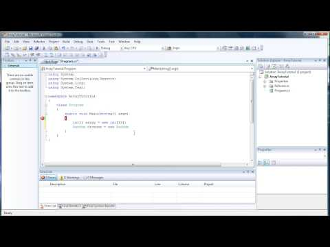 Basic Introduction to Arrays - C# Visual Studio 2008